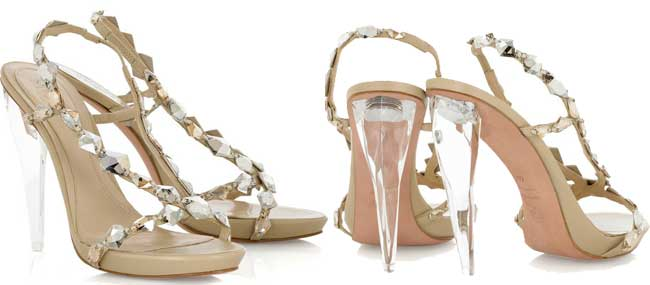 9b21a09b4d0 Alexander McQueen crystal embellished sandals with clear heels ...