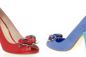 c3f79fb5ade Shellys  rosebud detailed heeled court shoes in red or blue
