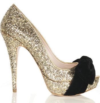 miu miu glitter peep toe pu Miu Miu glitter peep toe pumps with velvet bow detail