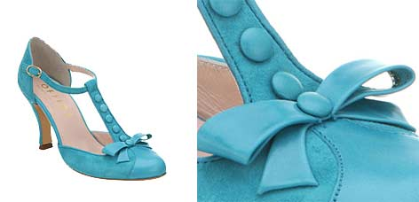 Office Lucky On Turquoise Suede T Bar Shoes