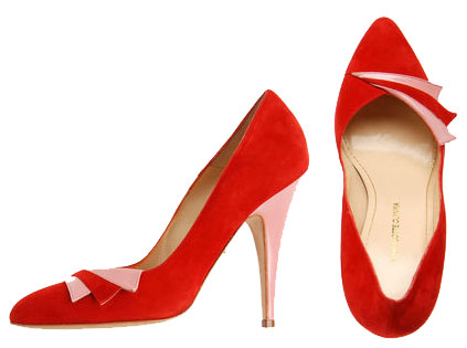 Red and pink vintage-style court shoes