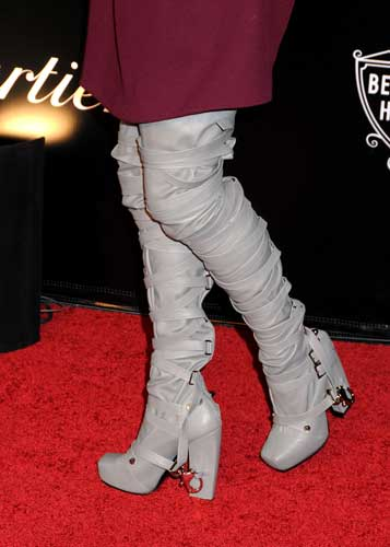 Angie Harmon's thigh-high boots