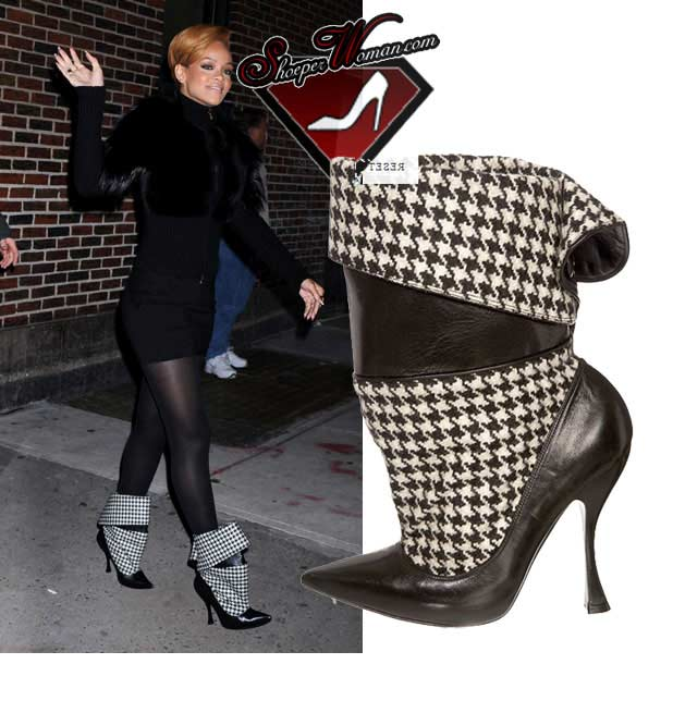 Rihanna in Alexander McQueen ankle boots