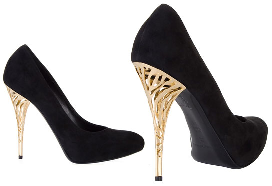 Suede court shoes with gold metal heels by Gian Marco Lorenzi ...