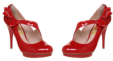 Office Red Patent Bow Time Platform Shoes