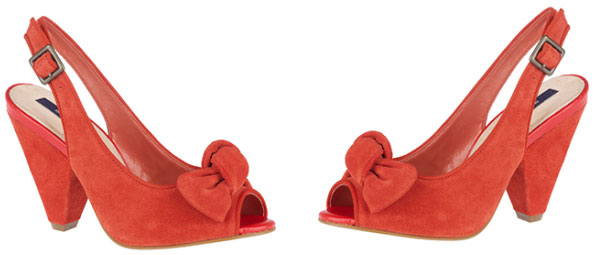 Red peep toe bow slingback shoes from River Island
