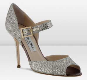 3175cdd7248a Jimmy Choo glitter fabric  Lace  peep toe shoes