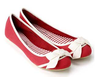 5da812b9ebd5 Red canvas ballerina pumps from Accessorize   Shoeperwoman