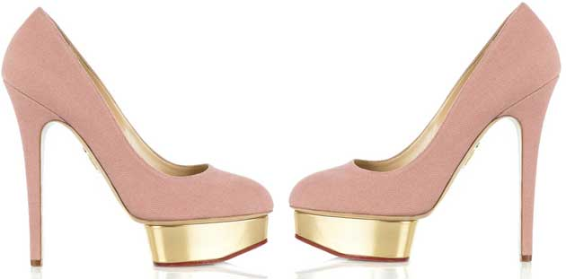 b4649a030f6 Charlotte Olympia s pink canvas  Dolly  platform pumps   Shoeperwoman