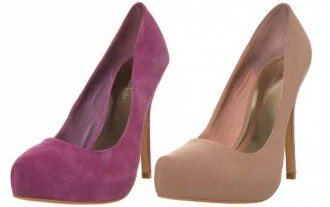 f0c9d5695205 Suede platform pumps from Miss Selfridge in purple and nude