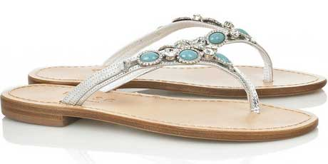d681f3d90818b Musa turquoise and crystal-studded leather sandals   Shoeperwoman