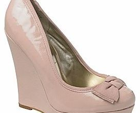 patent bow wedge shoes