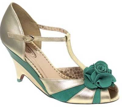 7d731796e7a5a Poetic Licence demi-wedge Dolly sandals in green and gold