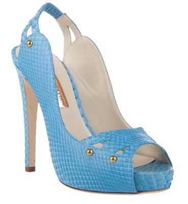3dd30286a25f4 Rupert Sanderson  Plato  light blue python leather open-toe slingback