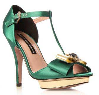 French Connection green and gold 'Gillian' sandals with brooch ...