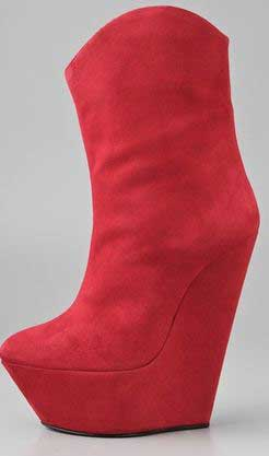 Giuseppe Zanotti red platform wedge ankle boots > Shoeperwoman