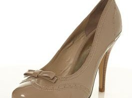 nude patent brogue court shoes