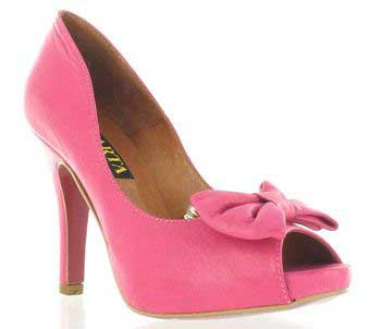 Pink bow-front peep toe shoes by Marta Jonsson