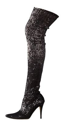 Manolo Blahnik Sequined Pascalare Thigh High Glitter Boots ...
