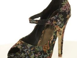 miss selfridge ebony tapestry platform shoes