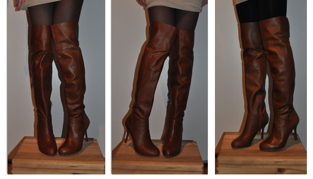 Brown Leather Thigh High Boots