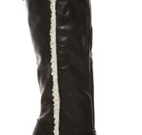black leather over-the-knee clog boots