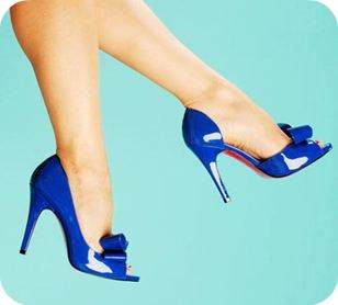 blue patent peep toes