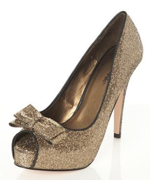 bronze glitter platform heels and flats from miss selfridge