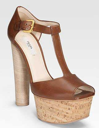 486dcc2ef3e5 Prada cork heeled t-bar shoes