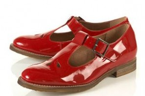 topshop red patent kerb shoes