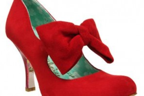 irregular choice red suede bow shoes