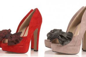 Topshop 'Sindy' suede bow platforms in red and grey
