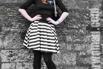 black-and-white-stripe-skirt