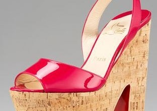 christian louboutin patent and cork sandals