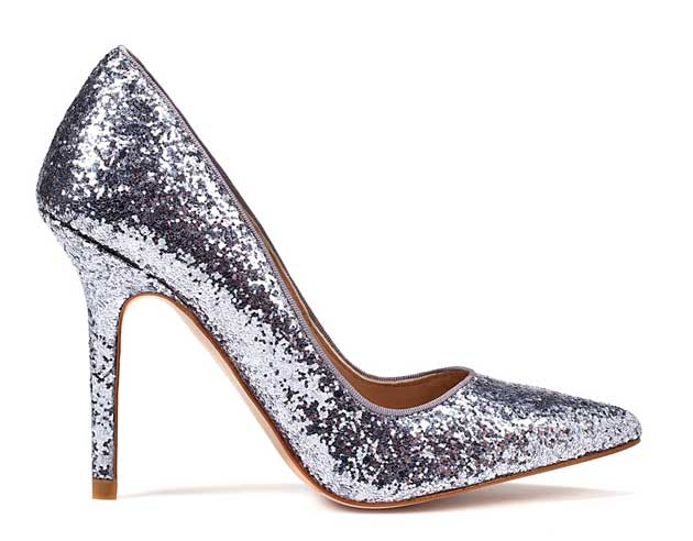 Silver glitter court shoes from Zara