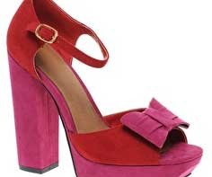 63bf5aa887d5 ASOS Heist pink and red bow platform sandals