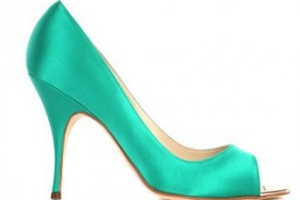 brian atwood green satin peep toes