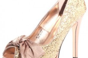 gold glitter bow court shoes