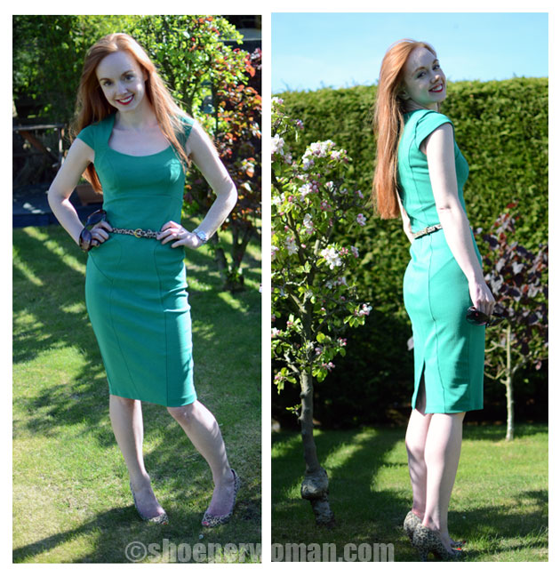 green dress leopard shoes gt
