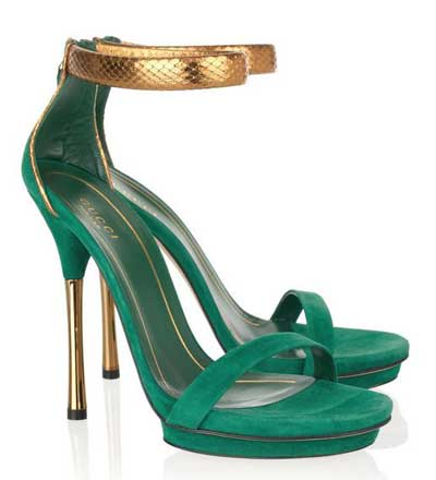 gucci green and gold sandals Gucci green suede and gold python sandals
