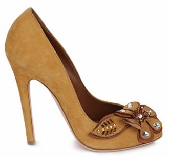 93e90ea4df5d Sebastian  Nives  camel peep toes with flower embellishment