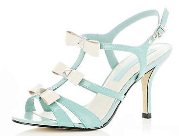 river island light green bow sandals