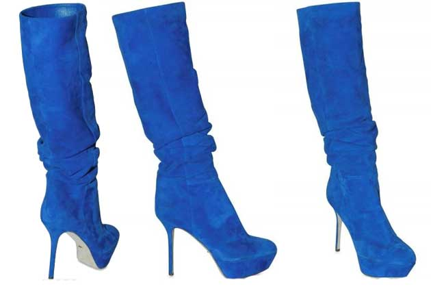 13c18c739d8e4 Blue Boots for Women  Sergio Rossi 120MM blue suede knee boots ...