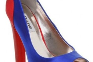 6f3f6f0891a Shoes for a Shoeperhero  Dune  Wah  red and blue satin peep toes