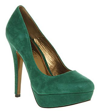 office minted green suede shoes
