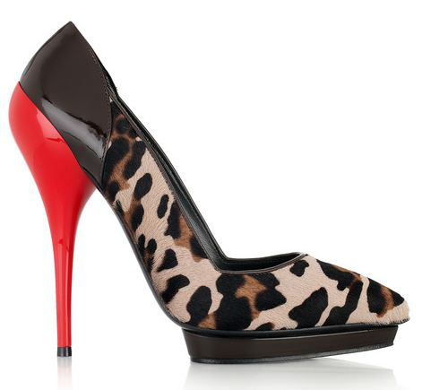 Versace leopard-print calf hair and patent-leather pumps ...