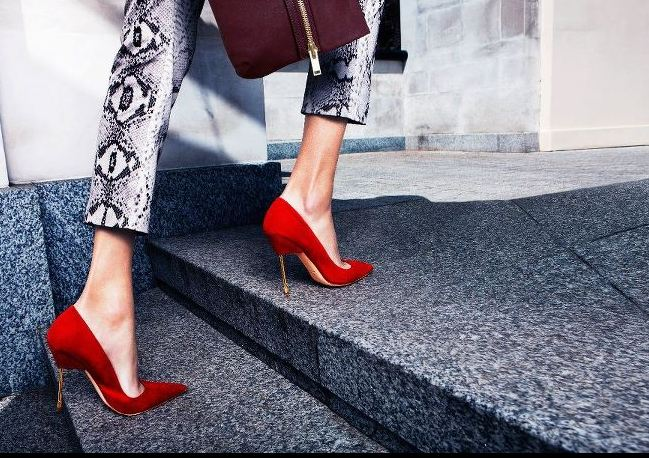 Red shoes with pointed toes