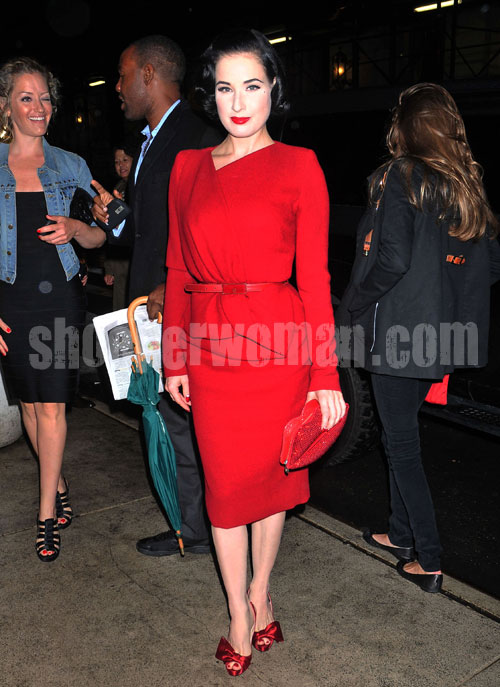 Dita Von Teese in red dress and red Christian Louboutin shoes