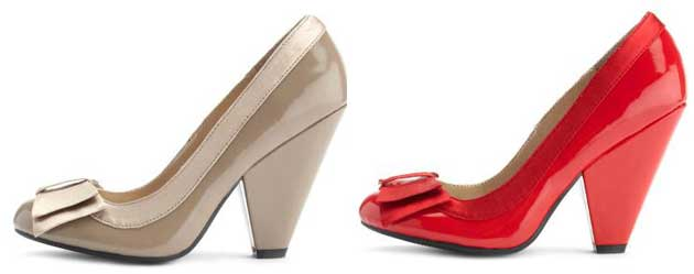 Red and Taupe pumps with cone heel and bow from Charlotte Russe