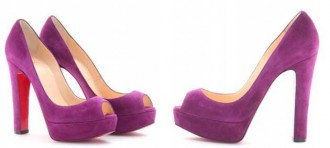 Purple peep toe platform shoes by Christian Louboutin